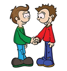 Two boys shaking handseps vector