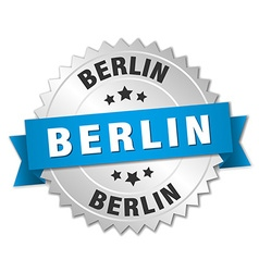 Berlin round silver badge with blue ribbon vector