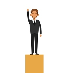 Businessman on platform icon vector