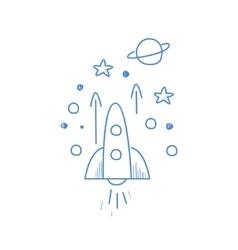 Rocket going up in space vector