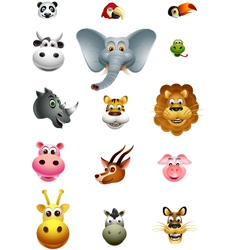 cute head animal cartoon collection vector image