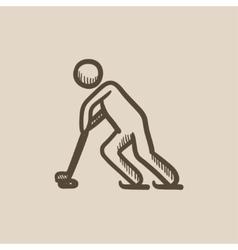 Hockey player sketch icon vector