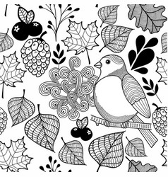 Black and white pattern bird on the branch and vector