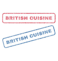 British cuisine textile stamps vector