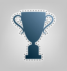 Champions cup sign blue icon with outline vector