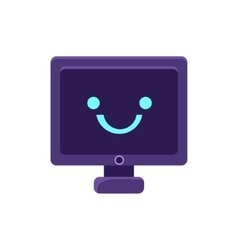 Computer screen primitive icon with smiley face vector