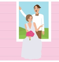 couple man woman wedding dress portrait in window vector image