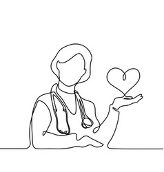 Doctor with stethoscope treat patient woman vector