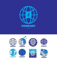 Eart globe global company logo vector