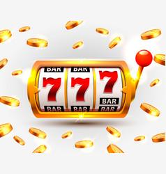 golden slots machine wins the jackpot vector image