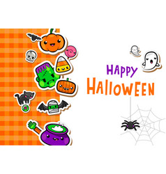 greeting card with cute halloween vector image vector image