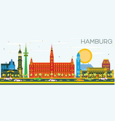 hamburg skyline with color buildings and blue sky vector image