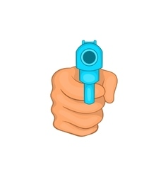 Hand pointing with the gun icon cartoon style vector