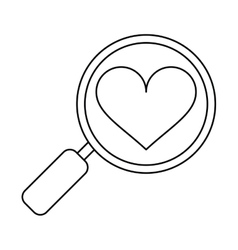 Heart love loupe search icon outline vector