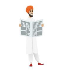 hindu businessman reading newspaper vector image