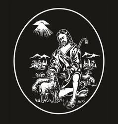 jesus the shepherd vector image