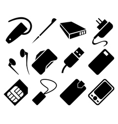 Mobile Phone Accessories Icon Set vector image