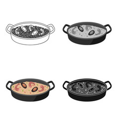 Paella icon in cartoon style isolated on white vector