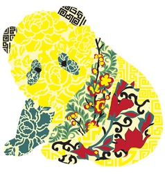 Panda in Chinese ornament vector image vector image