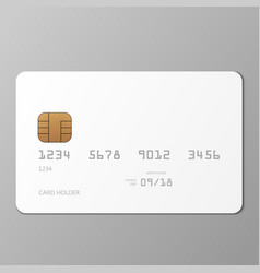 realistic white credit card mockup template with vector image