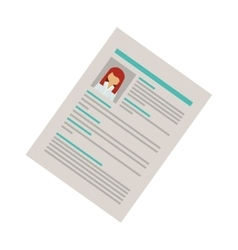 right side document with woman curriculum vitae vector image