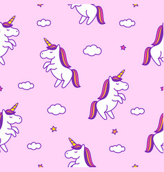seamless pattern with doodle style unicorns vector image
