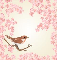 Seamless texture bird and sakura vector image vector image