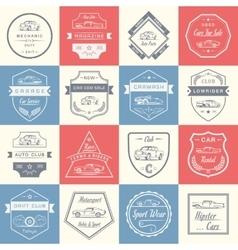 Set of vintage car badges and sign vector