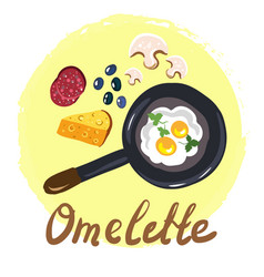 Top view omellete cooking ingredients cartoon free vector