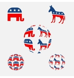 USA political parties symbols vector image vector image