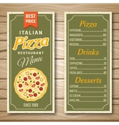 Italian Pizza Restaurant Menu vector image