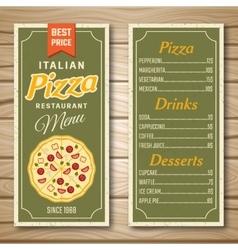 Italian pizza restaurant menu vector