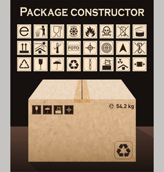 Package constructor with box packaging symbols vector