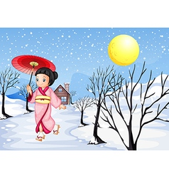 A Chinese lady walking under the snow vector image