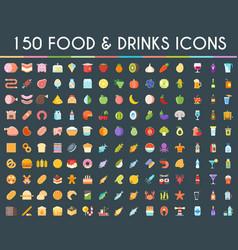 Food and drinks big icons set vector