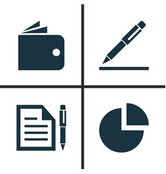 Job icons set collection of contract pie bar vector