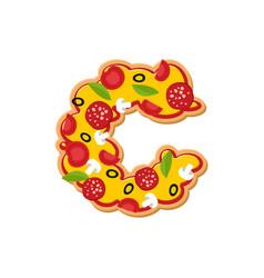 Letter c pizza font italian meal alphabet vector
