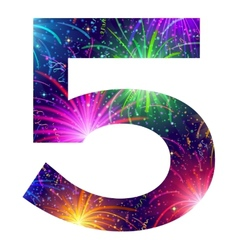 Number of colorful firework five vector