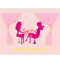 Young lady silhouette doing manicure in beauty vector