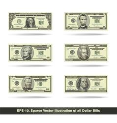 All dollar bills flat vector