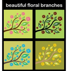 Set of floral branches vector