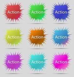 Action sign icon motivation button with arrow nine vector