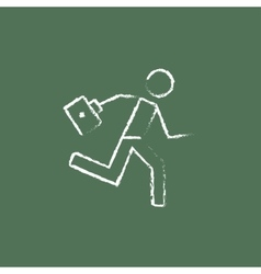 Paramedic running with first aid kit icon drawn in vector