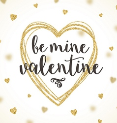 Valentines greeting card with glitter gold vector image