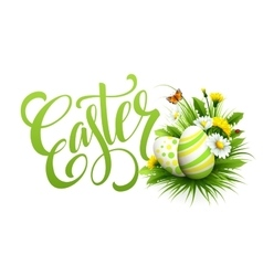 Easter greeting lettering flower egg vector