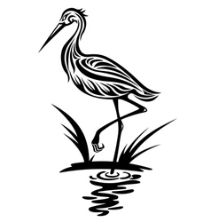Heron bird silhouette vector