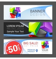 A set of horizontal banners with abstract full vector
