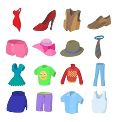 Clothing icons set cartoon style vector