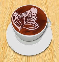 White cup of cappuccino on the wooden table vector