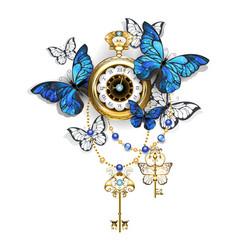 antique clock with butterflies morpho vector image vector image